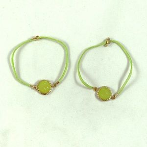Lime green stone pull Tie bracelets